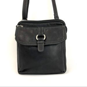 Fossil Black Leather Crossbody Travel Bag